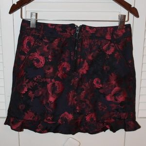 Express Red Flower Mini Skirt